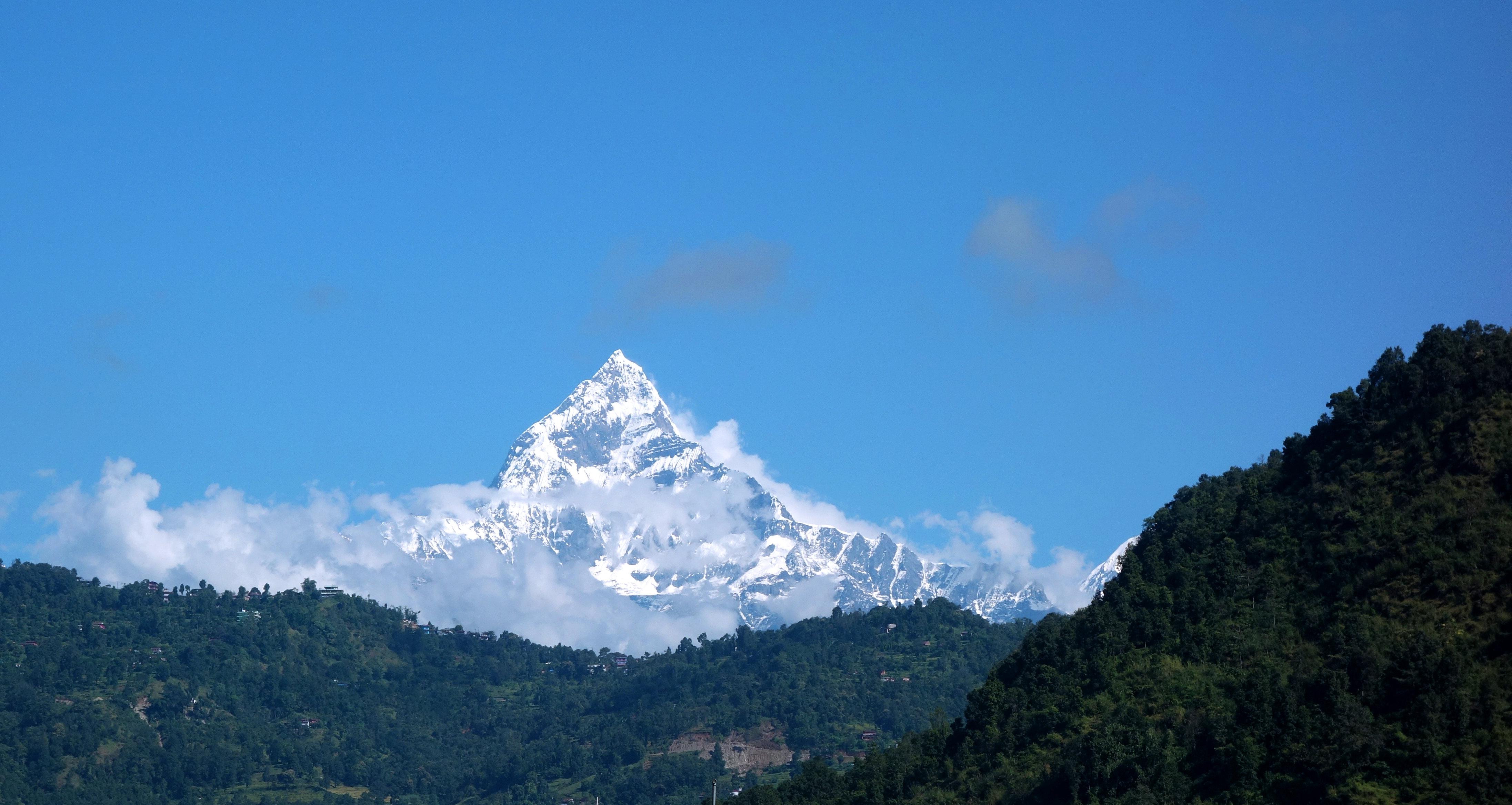 Nepal Pokhara Blick auf Machupuchare