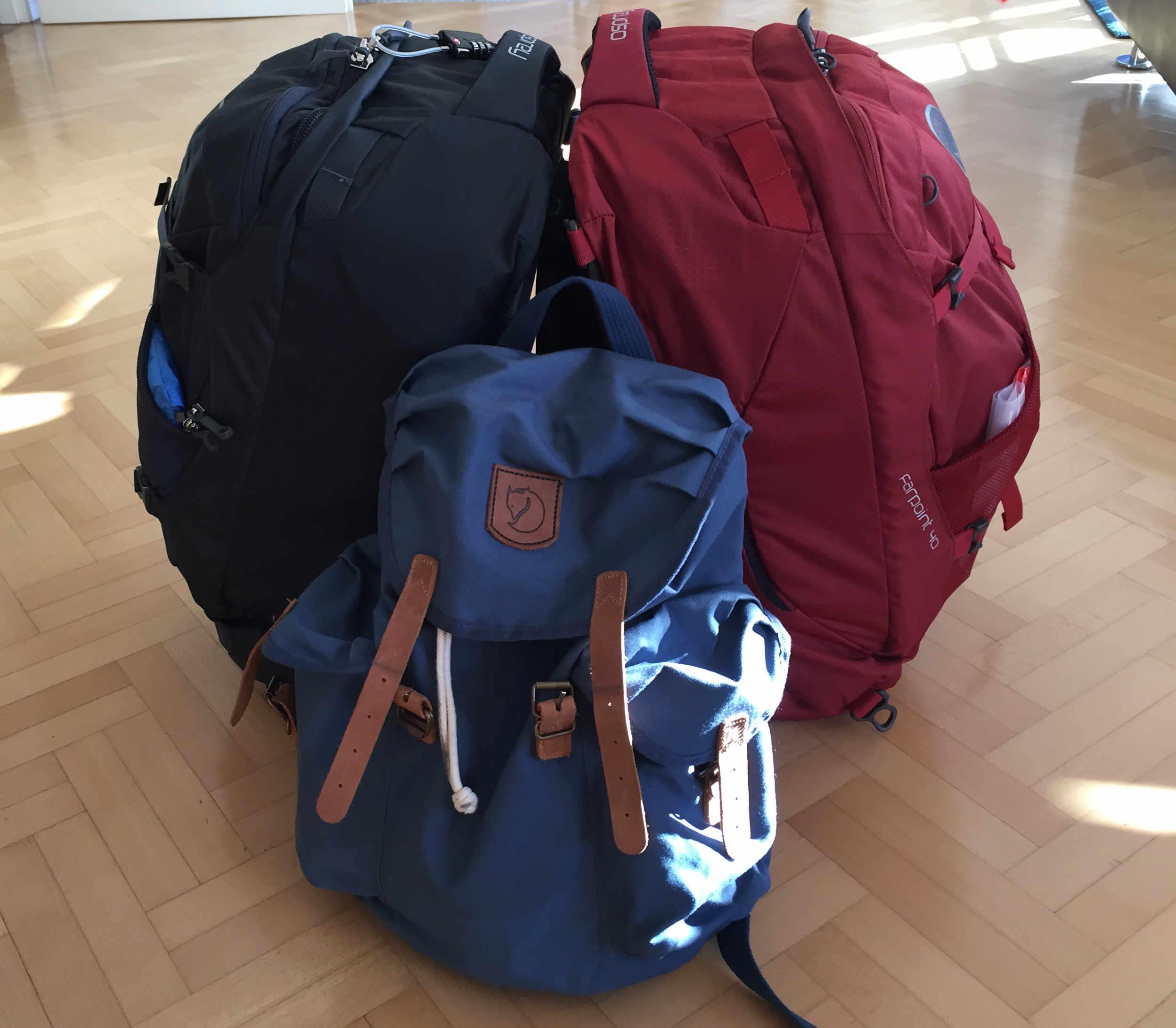 Weltreise Packliste Handgepäck alle Rucksäcke