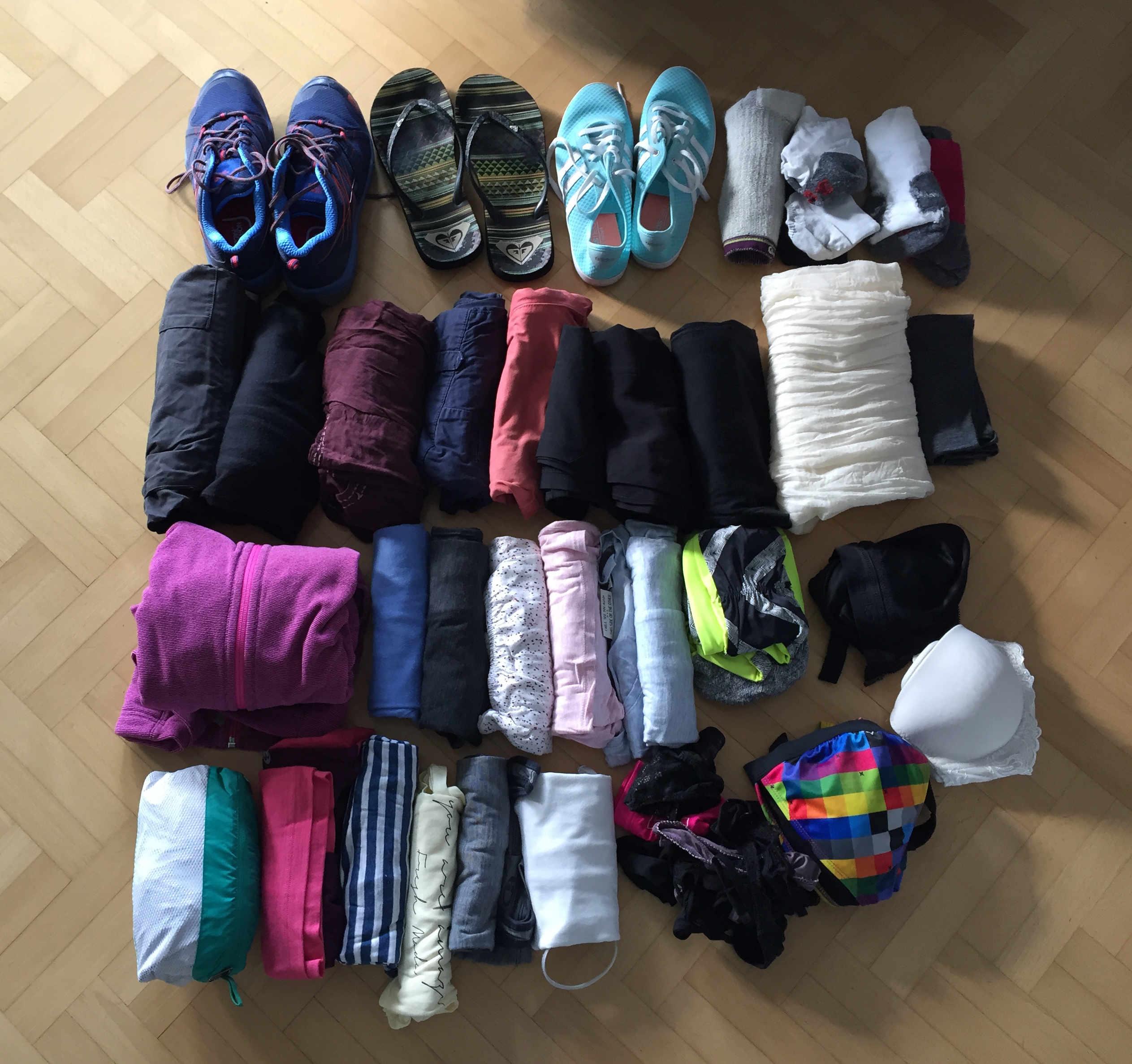 Weltreise Packliste Handgepäck Kleidung Franzi