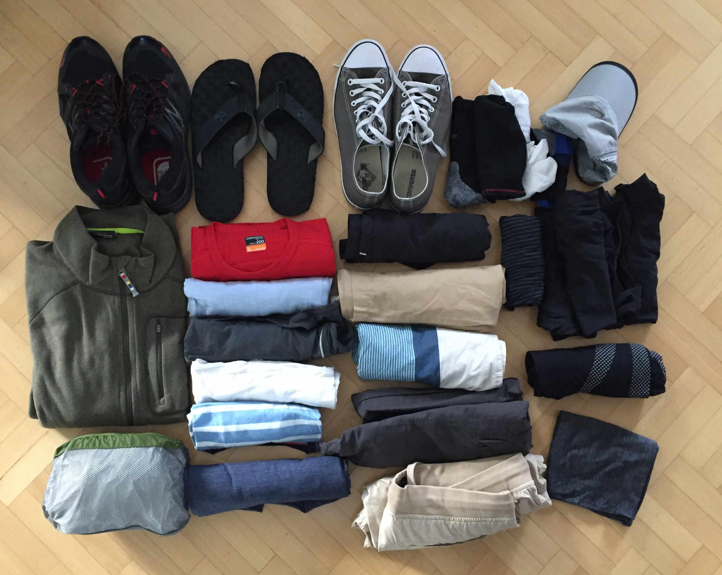 Weltreise Packliste Handgepäck Kleidung Matthias