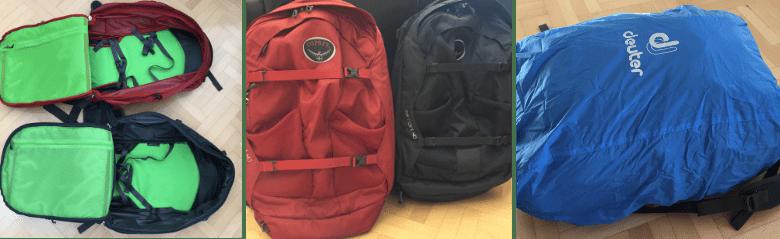Weltreise Packliste Handgepäck Rucksack Osprey