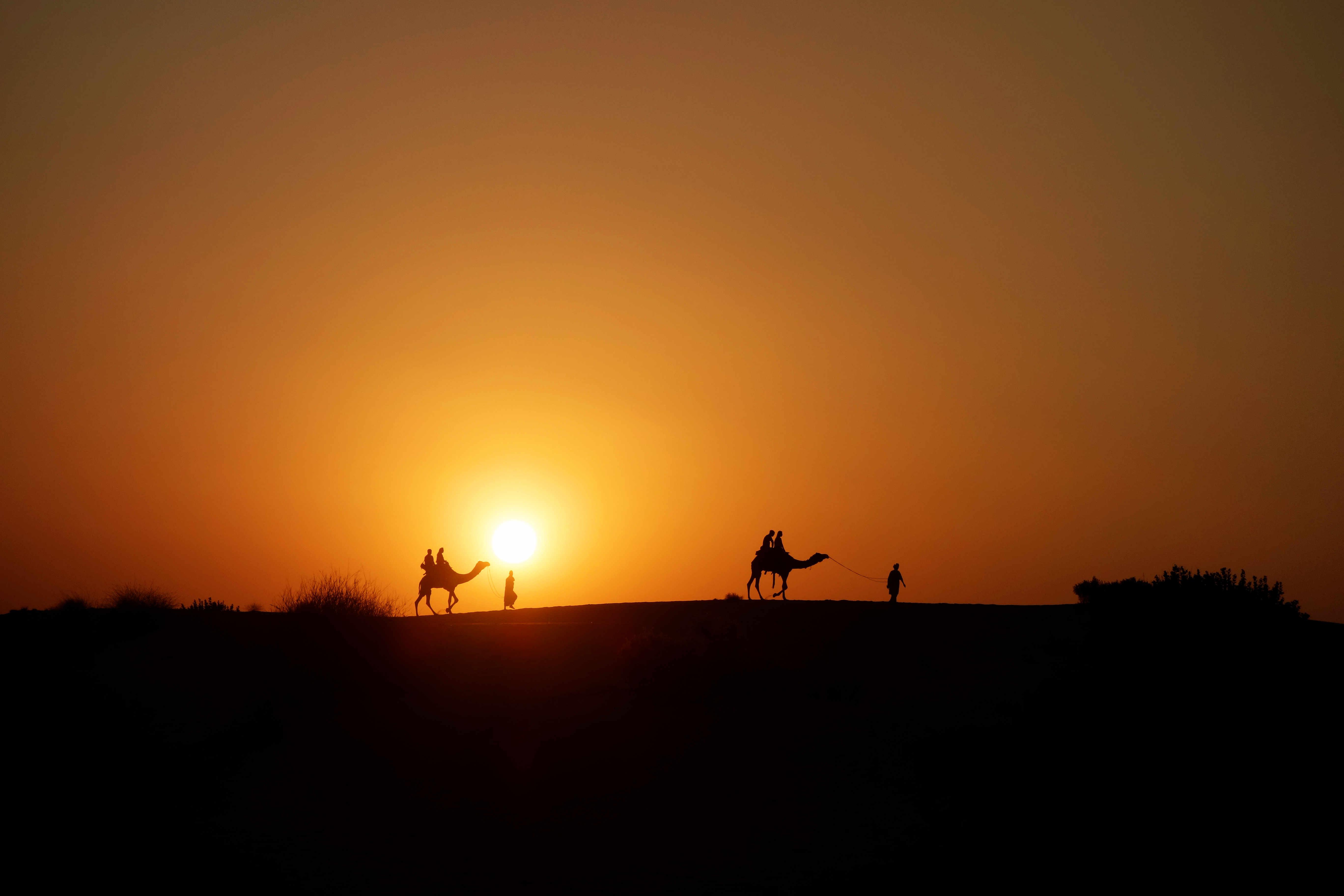 Indien Jaisalmer Kamelsafari Sonnenuntergang