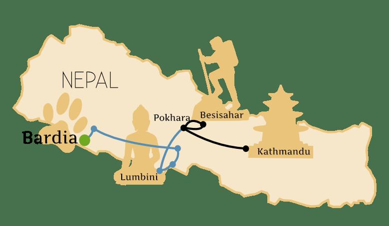 Nepal Karte Bardia Nationalpark