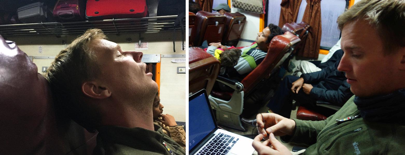 Indien Zugfahren AC Chair Class Matthias