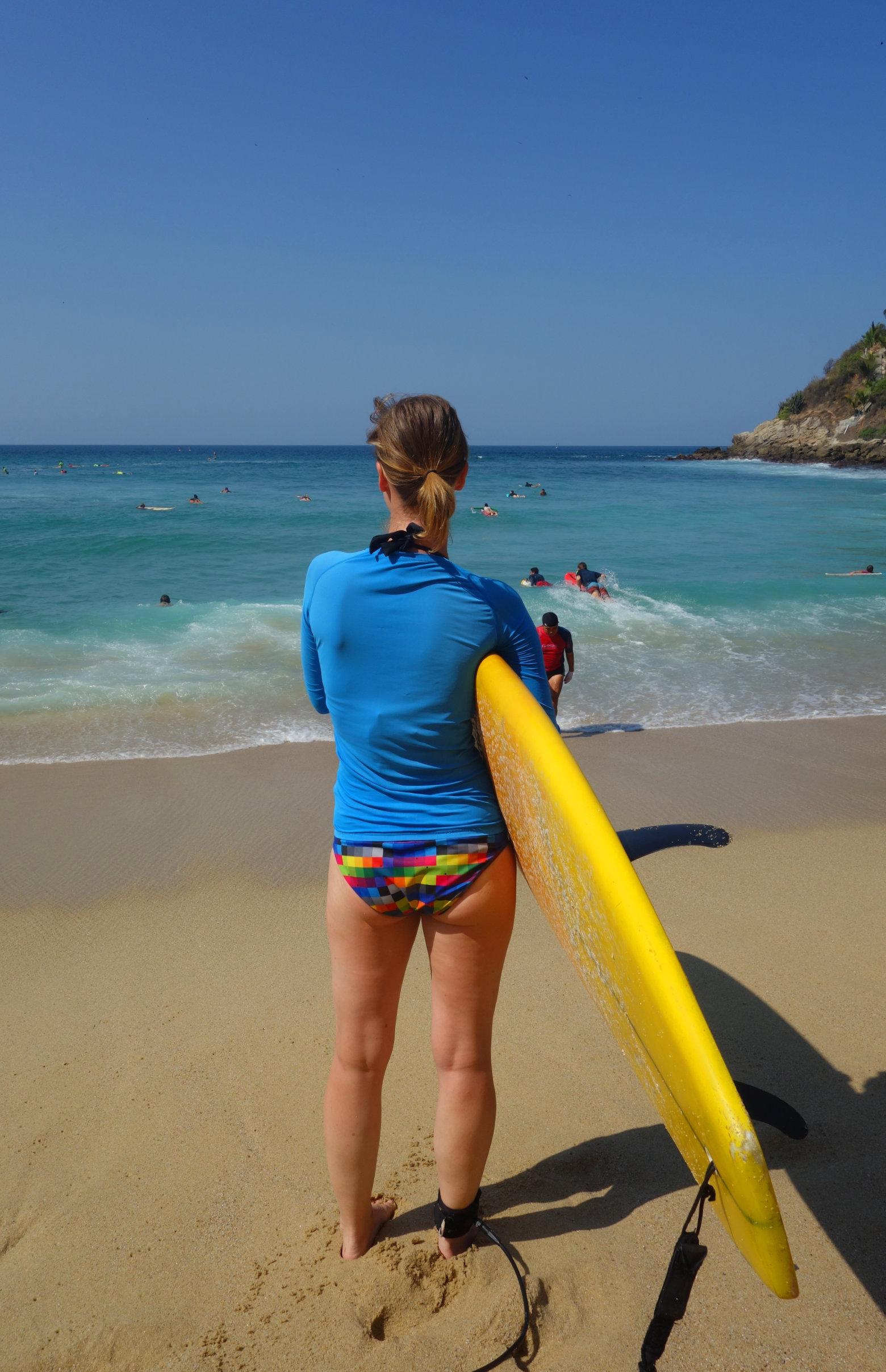 Mexiko Puerto Escondido Surfen Franzi Strand