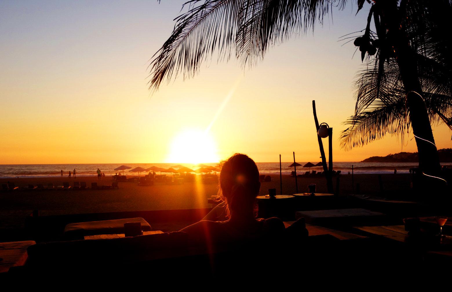 Mexiko Puerto Escondido Zicatela Sonnenuntergang