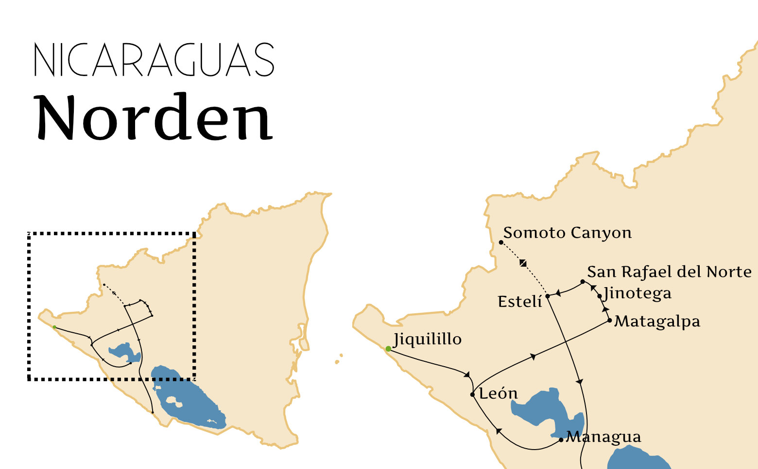 Nicaragua Norden Route Grafik