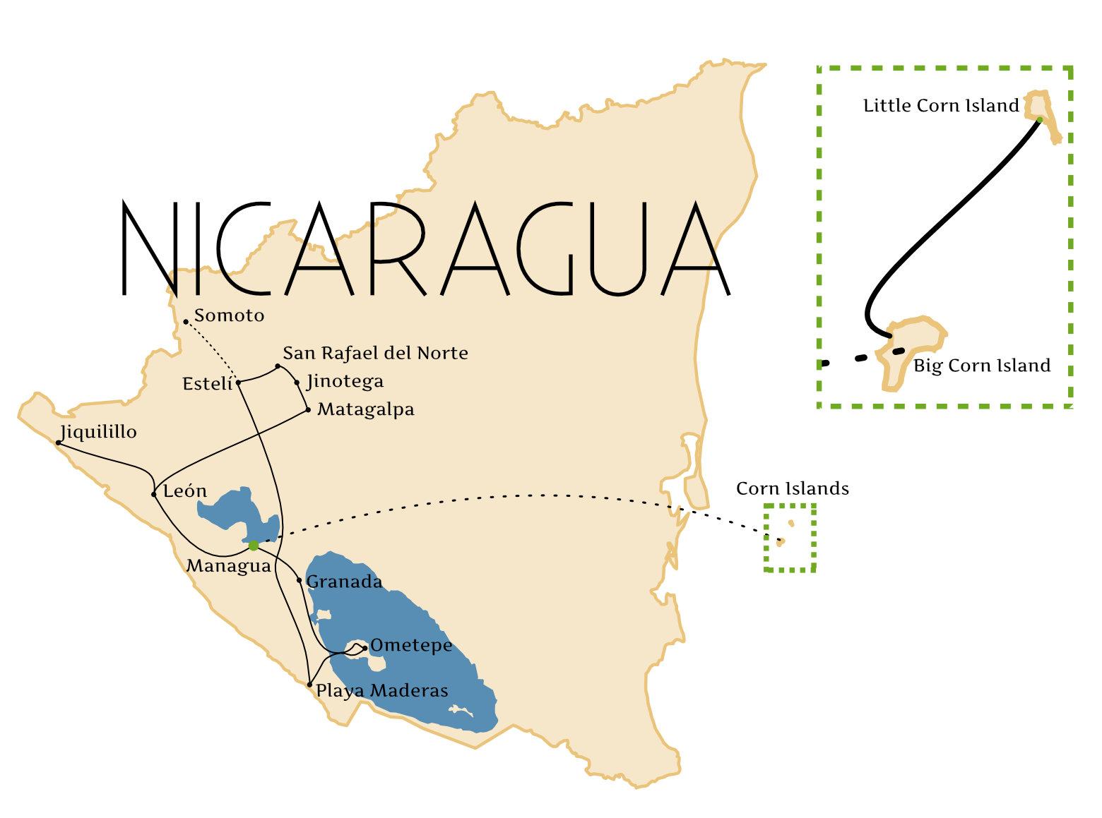 Nicaragua Reisetipps Route Grafik