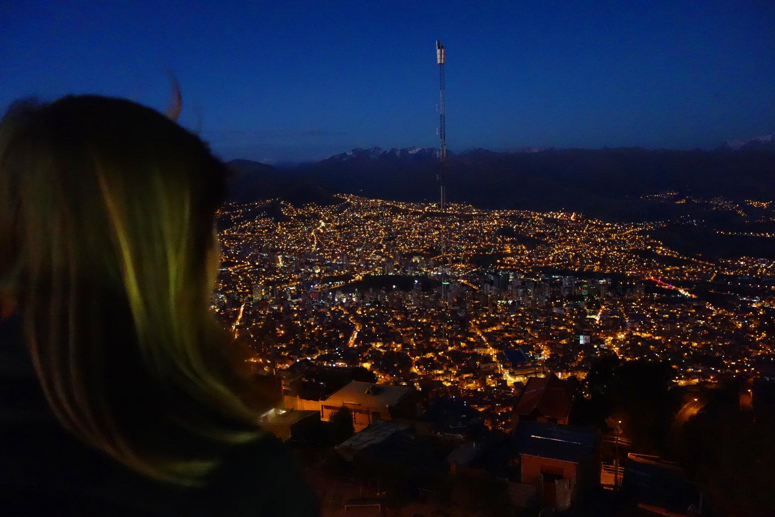 Bolivien La Paz Nachtblick von El Alto