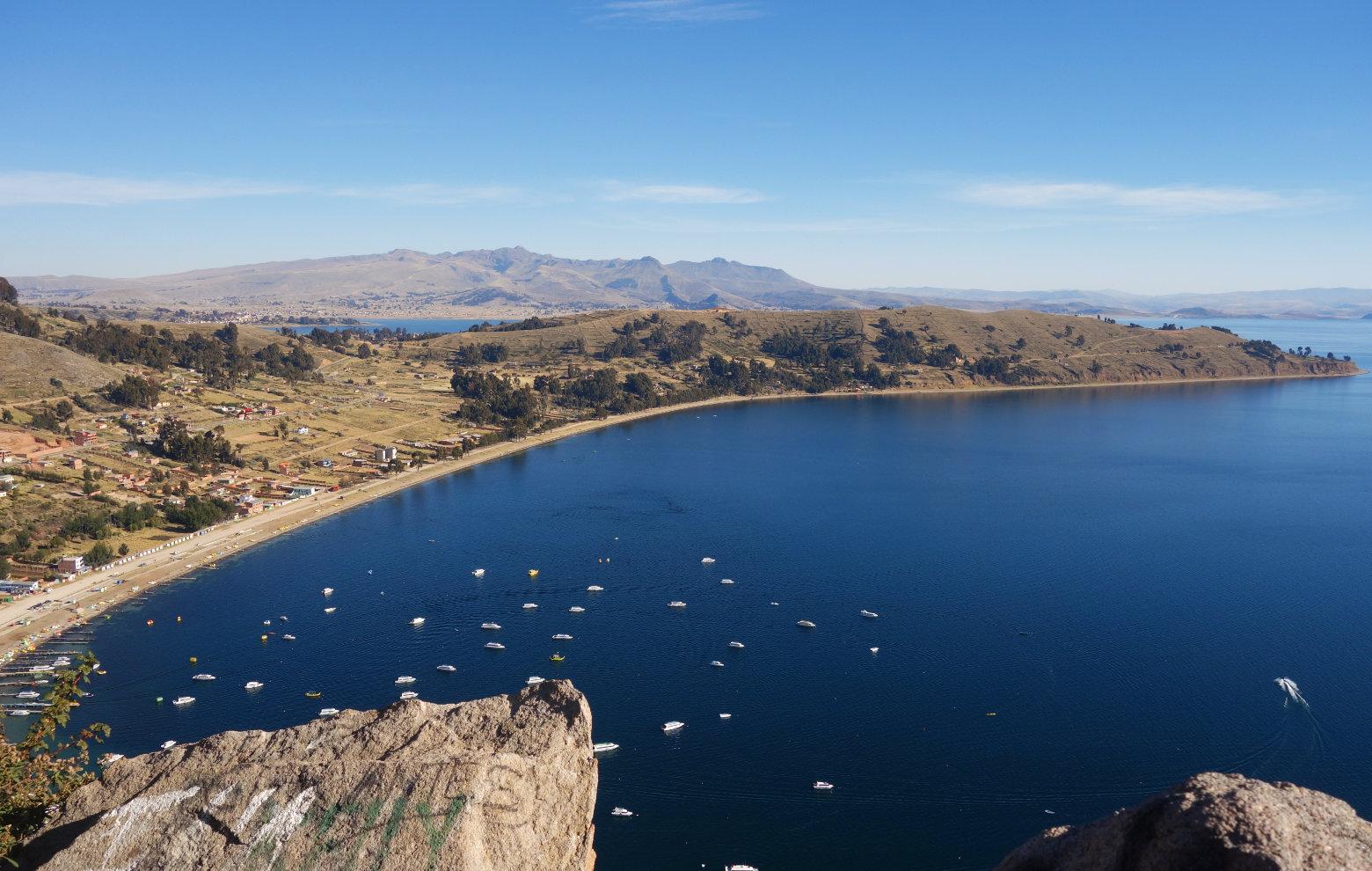 Bolivien Titicacasee Blick vom Cerro Calvario