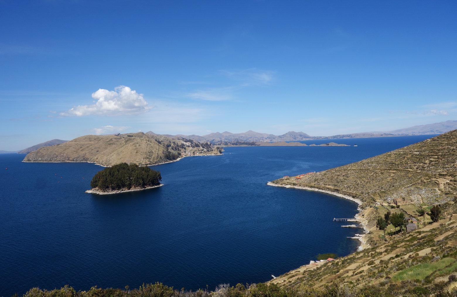Bolivien Titicacasee Blick von Isla del Sol