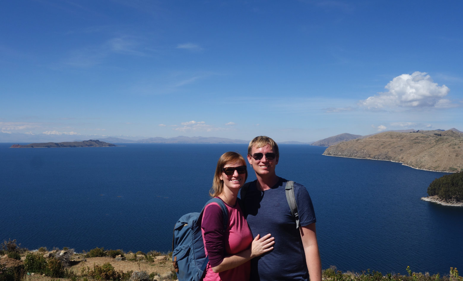 Bolivien Titicacasee Paarfoto Isla del Sol