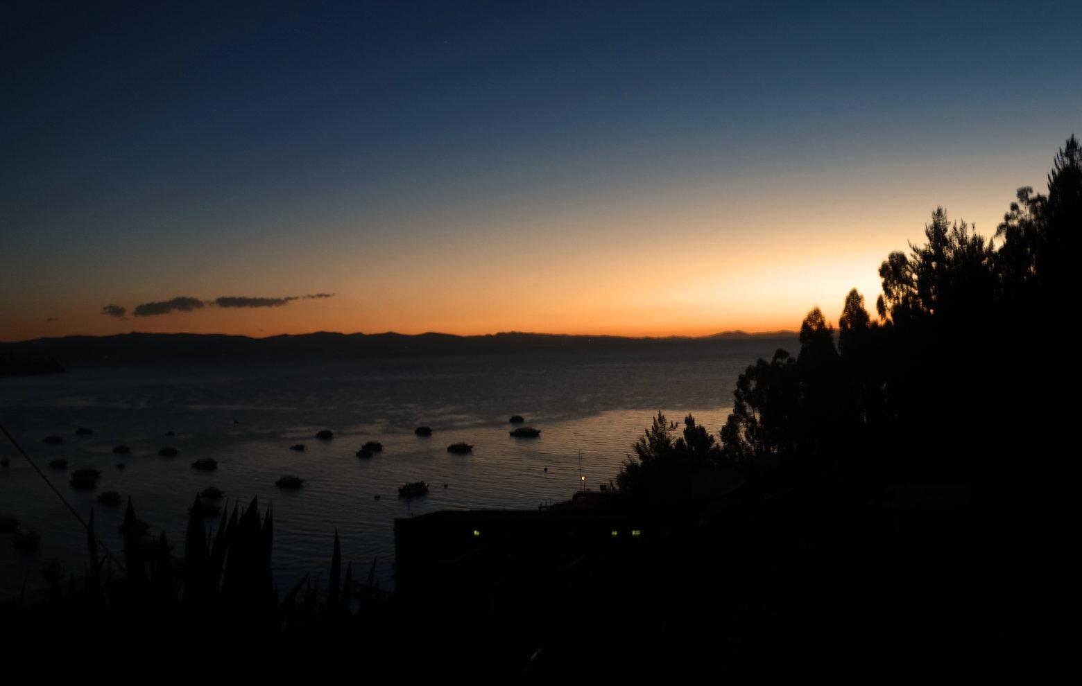 Bolivien Titicacasee Sonnenuntergang