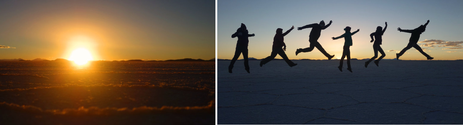 Salar de Uyuni Sonnenuntergang Collage