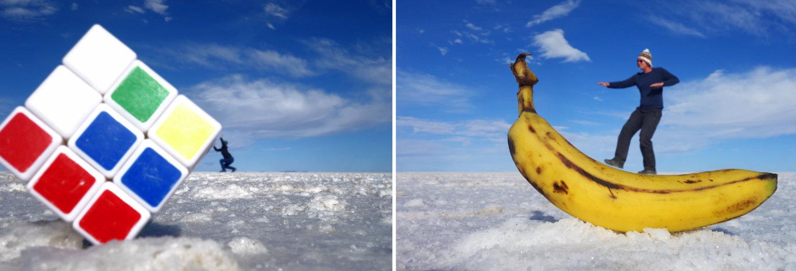 Bolivien Salar de Uyuni Effektfotos mit Banane & Würfel