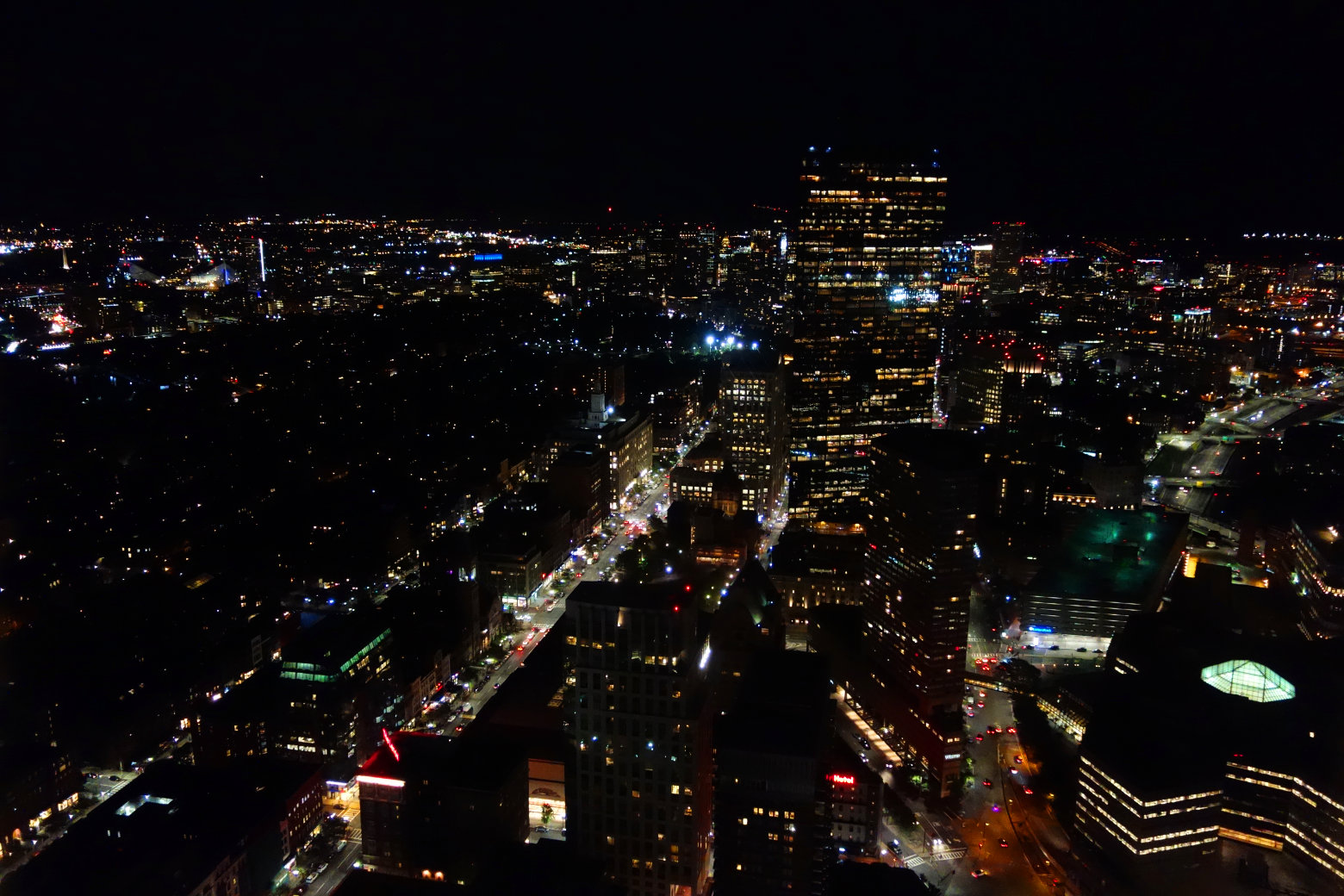 Boston Blick vom Prudential Center nachts