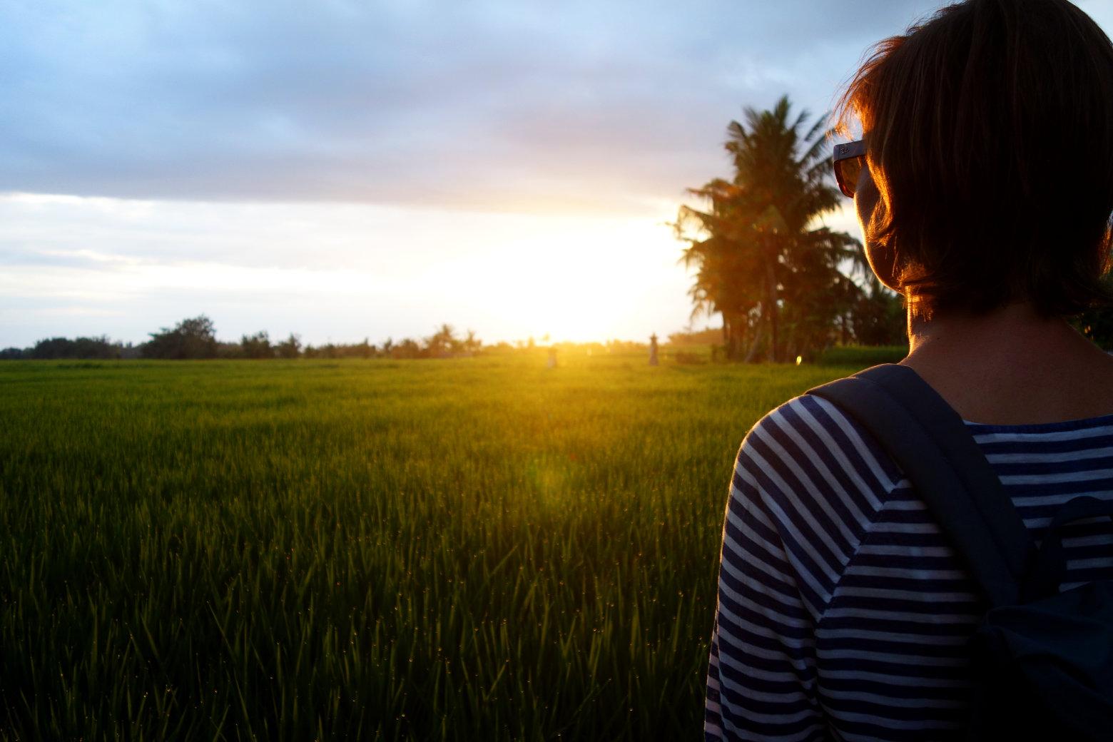Canggu Reisfeld Sonnenuntergang mit Franzi