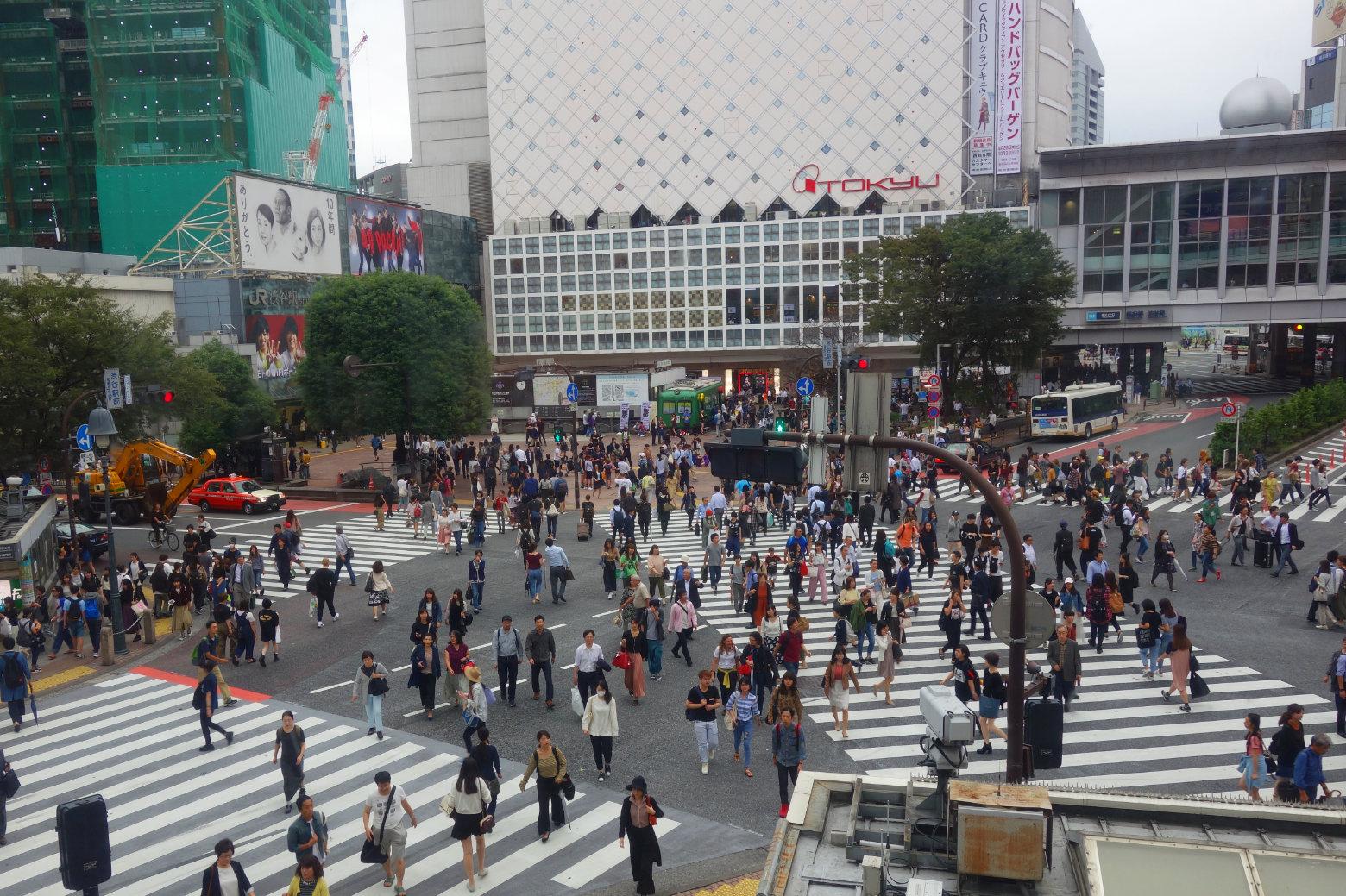 Tokyo Shibuya Kreuzung von oben