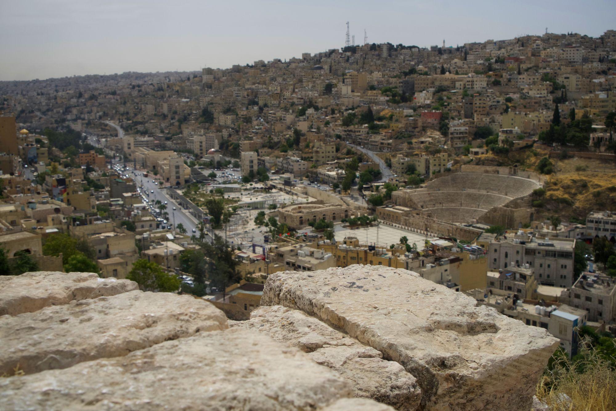 Amman Zitadelle Blick auf Stadt