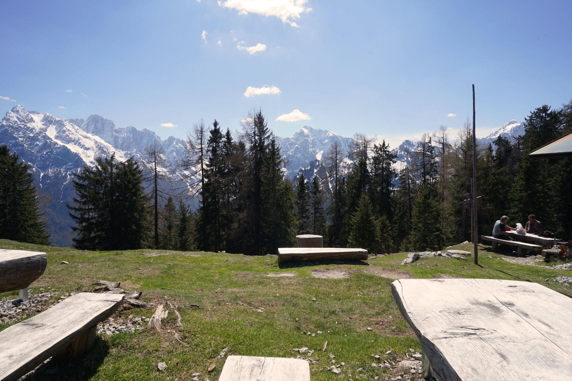 Kranjska Gora Wanderung Mojcin Dom Blick