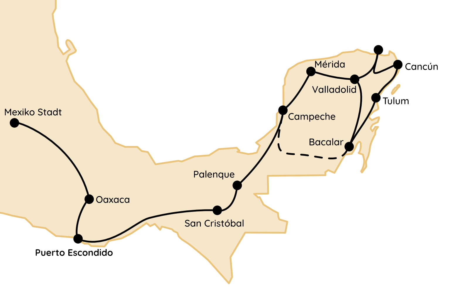 Mexiko Routen