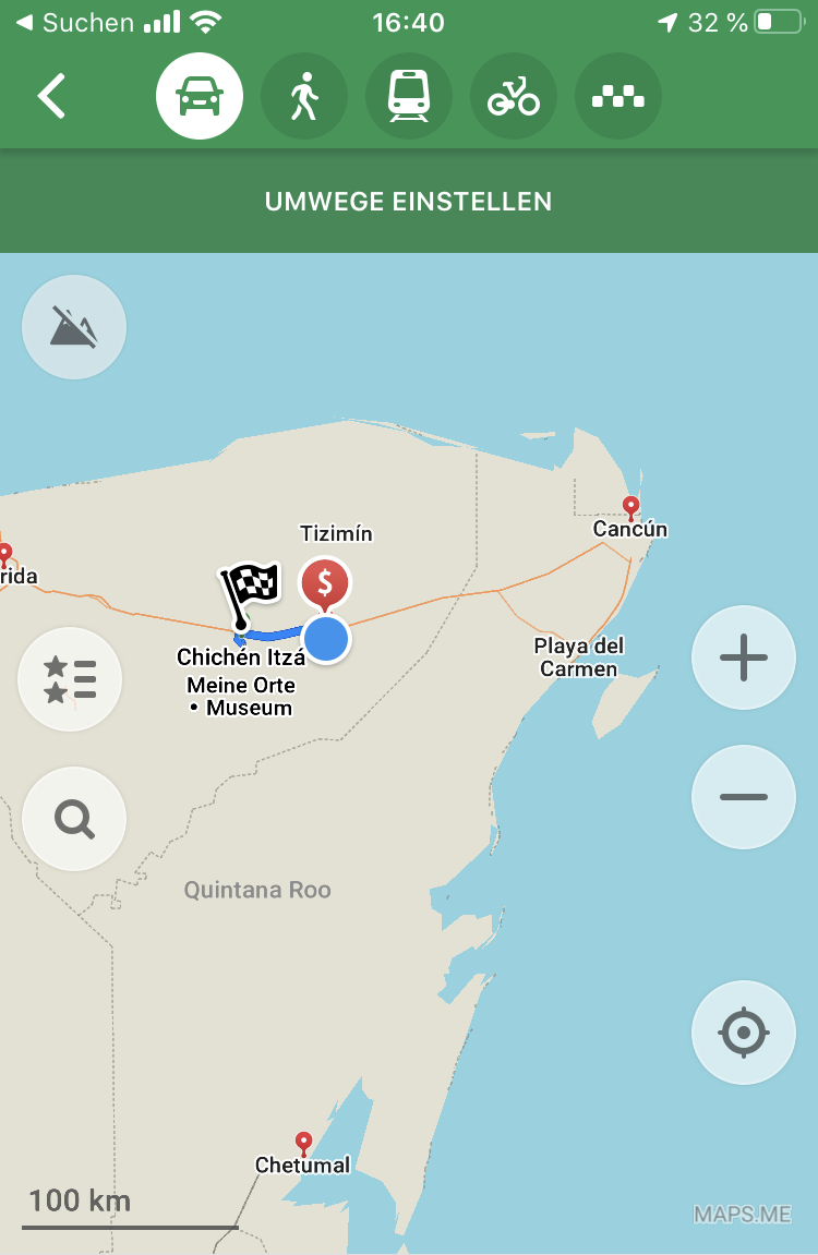Routenplanung mit maps.me