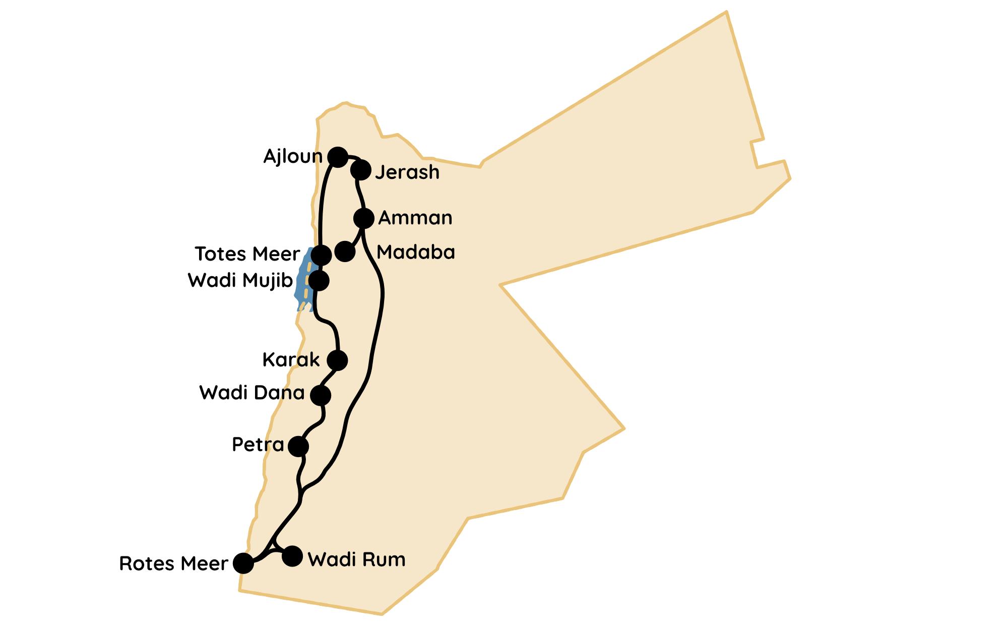 Jordanien Route