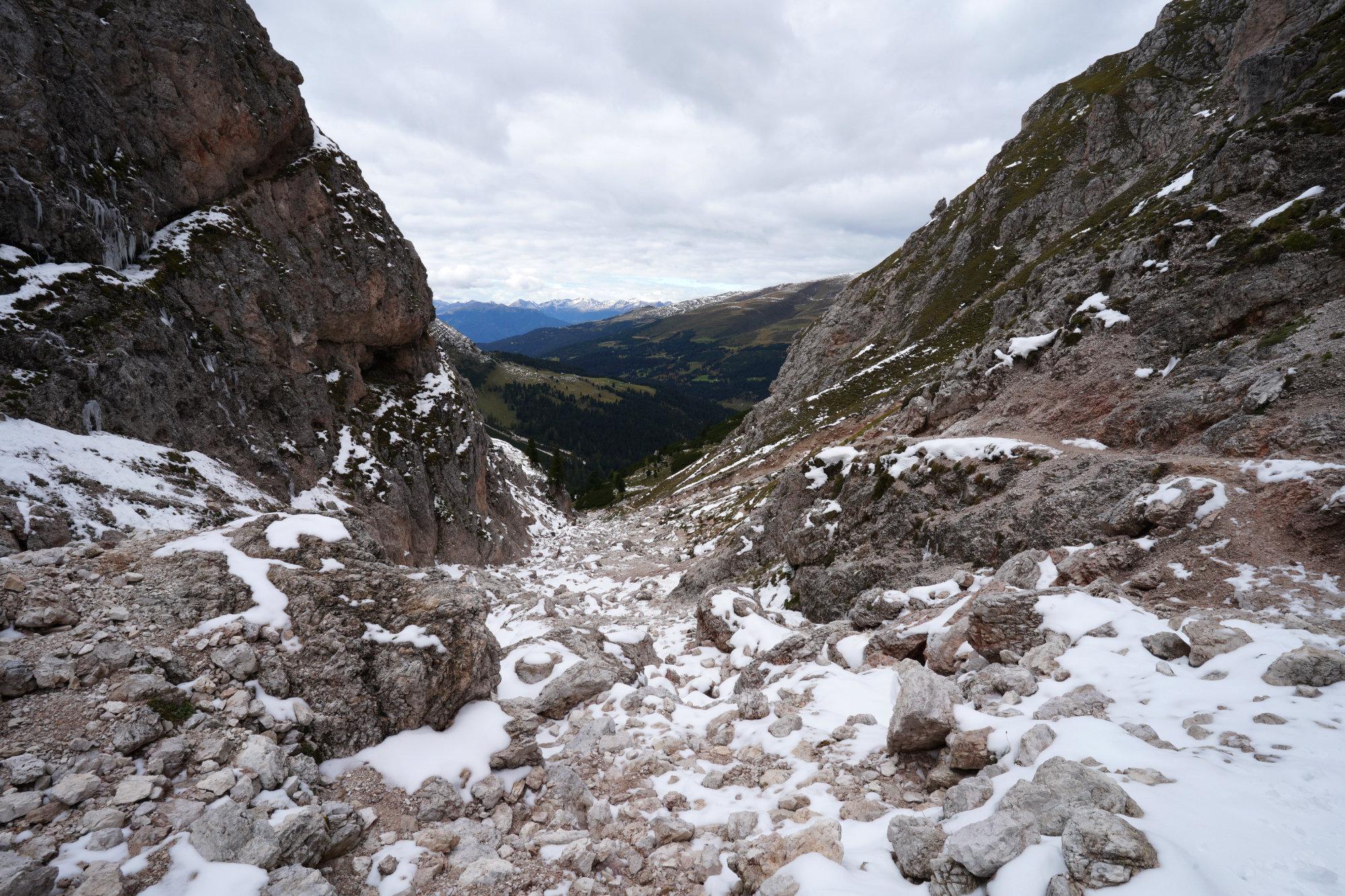 Dolomiten Peitlerkofel Aufstieg Schnee