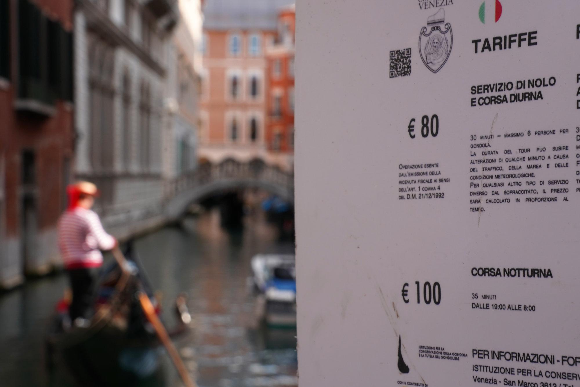 Venedig Gondel Preise